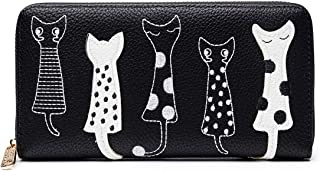 Women's Wallet Cute Cat Wallet Coin Purse Bifold Long Purse with Zipper