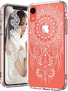 MOSNOVO iPhone XR Case, Clear iPhone XR Case, White Mandala Henna Tattoo Lace Pattern Clear Design Transparent Plastic Hard Case with TPU Bumper Protective Case Cover for iPhone XR