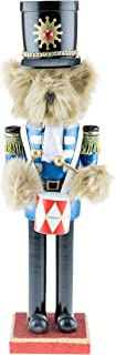 Clever Creations Teddy Bear Drummer Nutcracker   Features Fuzzy Teddy Bear Dressed Up Playing Drums   Perfect Holiday Decor   Measures 15