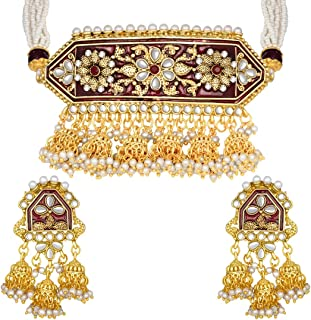 I Jewels Indian Bollywood Gold Plated Kundan Pearl Meena Work Choker Jewelry set with Jhumkis For Women