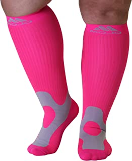 Mojo Coolmax Recovery & Enhancement Sports Compression Knee Highs - Size: 5X-Large, Color:Hot Pink Compression Sports Socks - Unisex