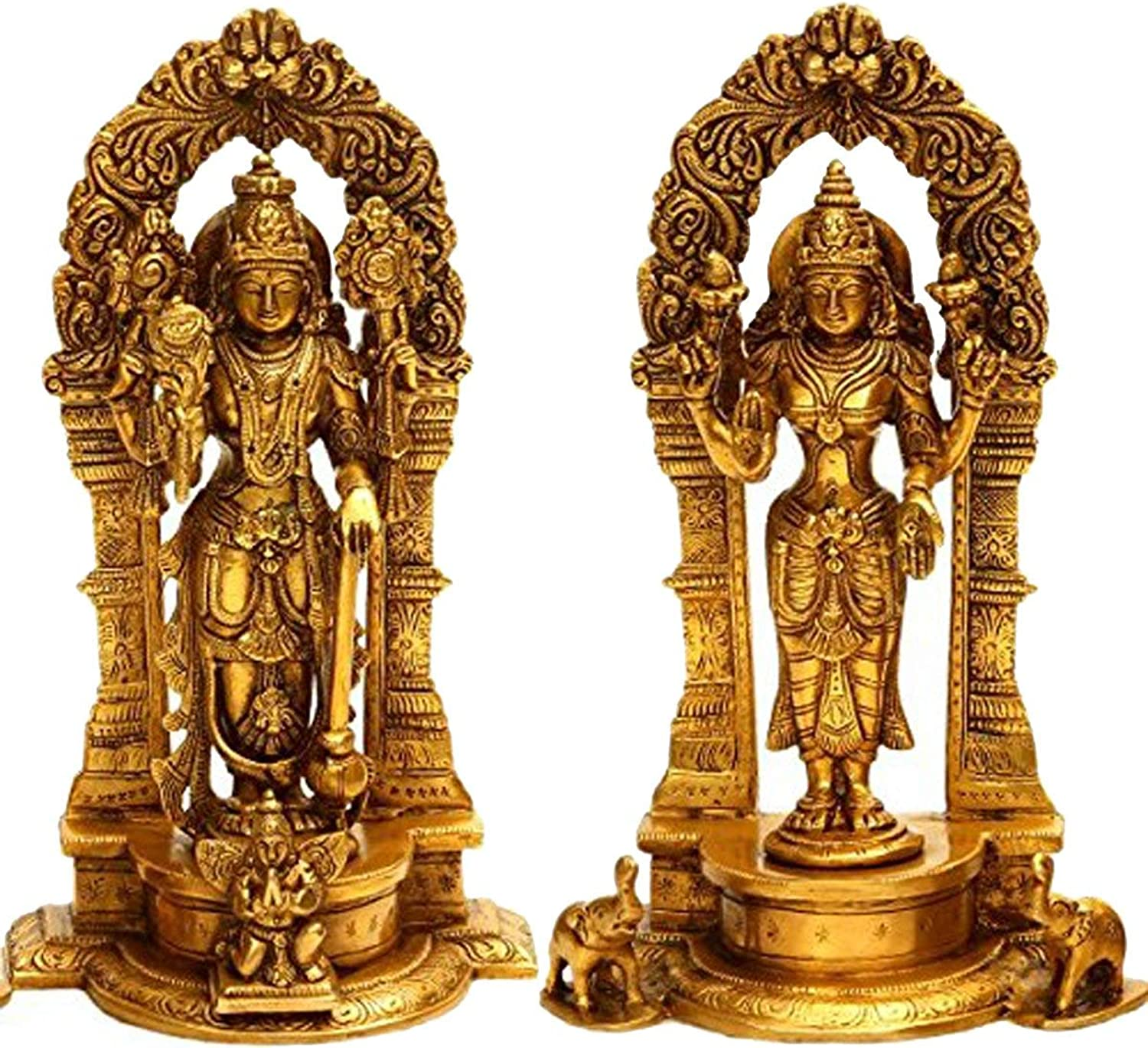 Lord Vishnu and Lakshmi Ji with Floral Aureole - Brass Statue, Height 9  I Home Decor
