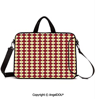 AngelDOU Customized Neoprene Printed Laptop Bag Notebook Handbag Geometrical Rhombus Arrangement Western Culture Royal Lily Pattern Compatible with mac air mi pro/Lenovo/asus/acer Ruby Yellow WHI