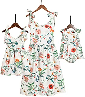 PopReal Mommy and Me Floral Printed Dresses Shoulder Straps Bowknot Chiffon Sleeveless Matching Outfits