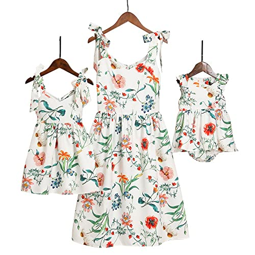 c5d77baebb PopReal Mommy and Me Floral Printed Shoulder-Straps Bowknot Halter Chiffon  Beach Mini Sundress