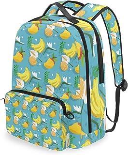 Mochila con bolsa cruzada desmontable, conjunto de frutas tropicales limón computadora mochilas bolsa libro para viajes senderismo camping