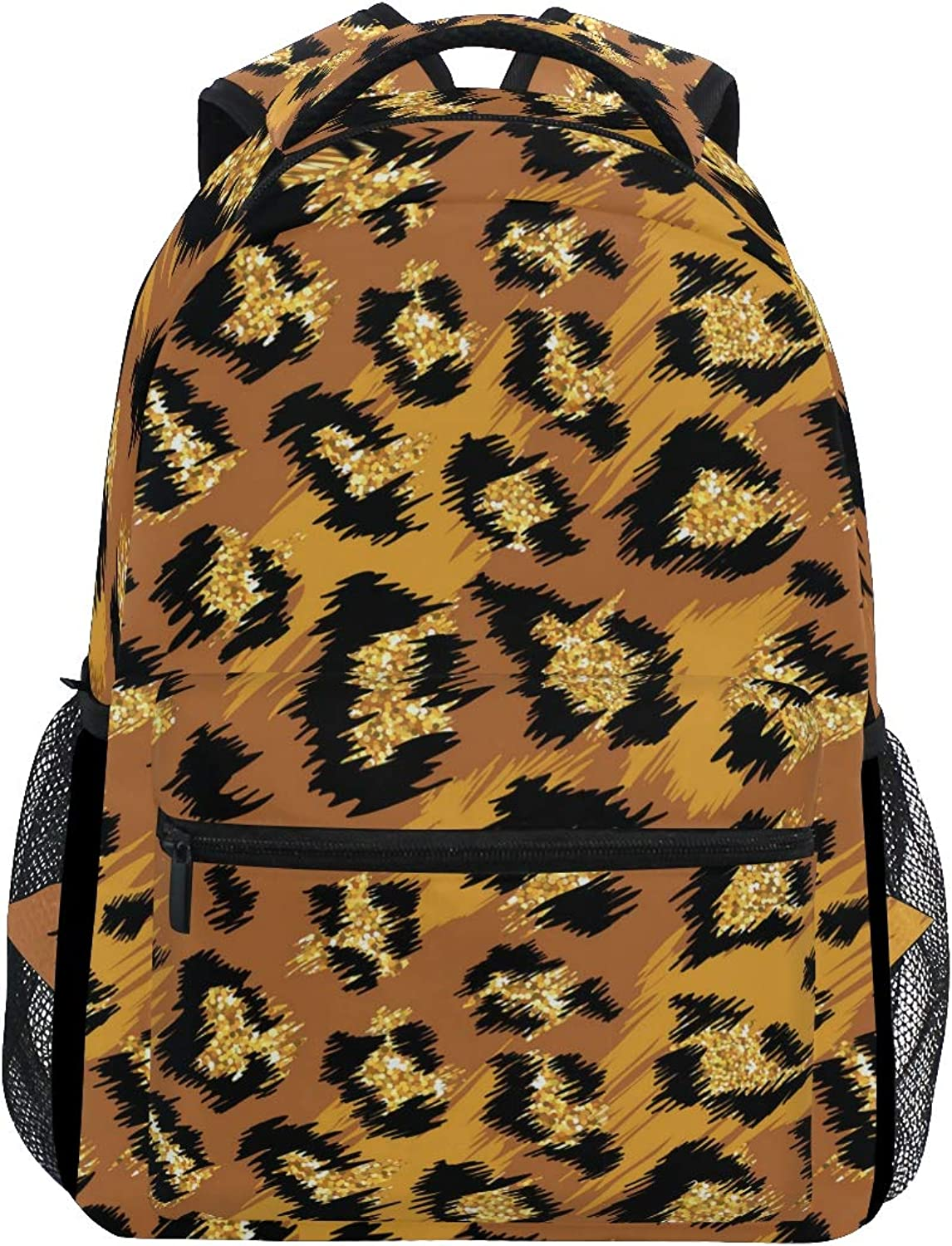 2205b70d2 Bright gold Leopard Print Large Backpack Travel Outdoor Sports Laptop  Backpack for Women & Men College