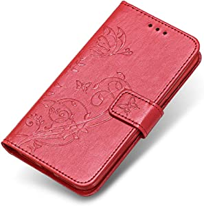 Galaxy 2017 Case  The Grafu  Leather Wallet Case Embossed Design Stand Function Cover with Credit Card Slot for Samsung Galaxy 2017  Red