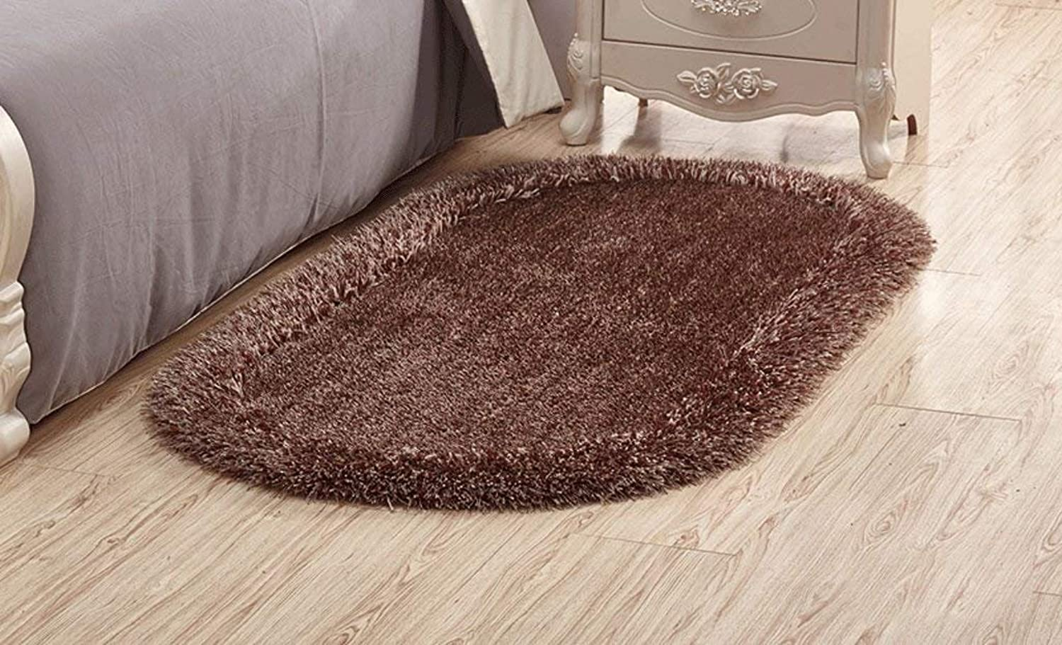 Carpet, Stretch siJSB Oval Thicker Soften Bright Wire Bedroom Bedside Carpet Simple Fashion European Style Rural Living Room Carpet Soft and Comfortable (color    9, Size   80  160cm)