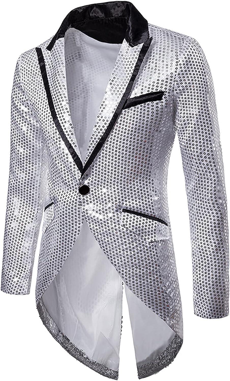 Men's Sequin Tuxedo Lapel Suit Embellished Design Evening Tuxedo Long Sleeve Jacket