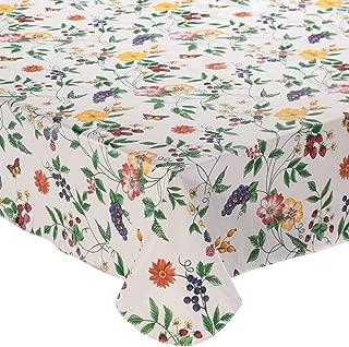 Lintex Enchanted Garden Flannel Backed Vinyl Tablecloth Indoor Outdoor 60