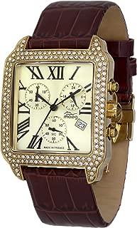 Think Different Women's Watch with White/Black/Gold Dial, White/Black/Brown/Magenta Genuine Leather Strap & Swarovski Elements