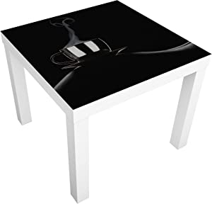 Bilderwelten Table Basse Design - Coffee in Bed - 55x55x45cm, Couleur de la Table: Table de Noir, Dimension: 55 x 55 x 45cm