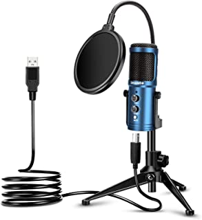 USB Condenser Microphone, ZEXMTE Computer PC Gaming Microphone with Tripod Stand & Pop Filter for for Streaming, Podcastin...