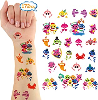 Baby Shark Temporary Tattoos 172 Pcs Party Supplies Body Stickers Costume Accessories for Kids Birthday Party Favors Decorations Ocean Sea Shark Themed Baby Shower Boy Girls Kids Party Bag Filler (6 Sheets)