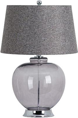 Hill 1975 The Versailles Lampe de table en verre fumé avec base chromée