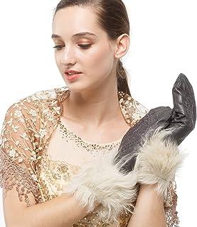 Nappaglo donne in vera pelle d'agnello con lana italiana di alta qualità, guanti di pelle nobile ricami inverno al caldo.