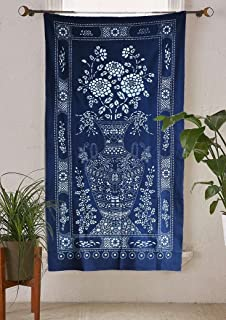 Flber Indigo Shibori Hand Dyed Portal Japanese Noren Door Curtain Table cloth