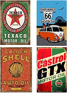 Easy Painter 4PCS Vintage Oil Signs Retro Vintage Metal Tin Signs Texaco Sign for Sale Wall Art Craft Cafe Route 66 Sign (7.8x11.8inchx4pcs)