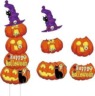 Gukasxi 5 Pack Halloween Gazon Yard Borden, Gestapelde Grote Pompoen Ghost Corrugate Yard Stakes Borden voor Outdoor Decor...