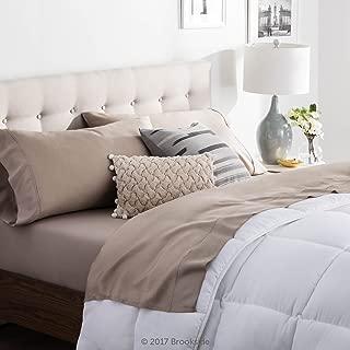 Brookside - Tencel Sheet Set - Luxurious Feel - Great for Sensitive Skin - Sateen Weave - Eco Friendly - Split King - Sandstone