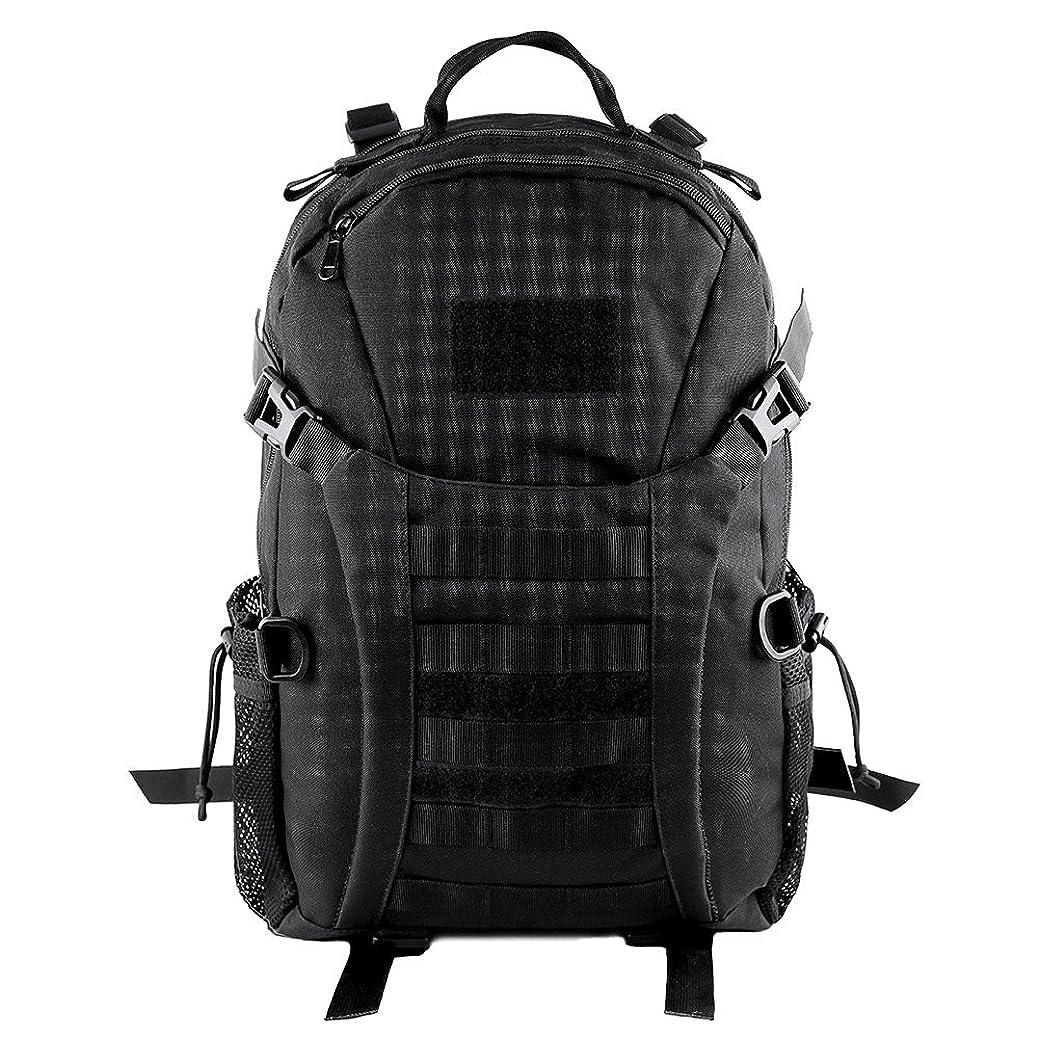 襲撃禁止懐疑論HUKOER Tacticalマウンテンバックパック - ファッショナブルな戦術ハイキングバックパック、35 L、多くの色、カジュアルな耐水性、トレッキング、旅行、狩猟用ベルクロスプリング(ブラック)