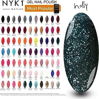 Dark Green Sparkly Gel Polish - (Holly) Glitter Nail Christmas Style UV LED Colour by NYK1 Nailac Lamp Gel Polishes
