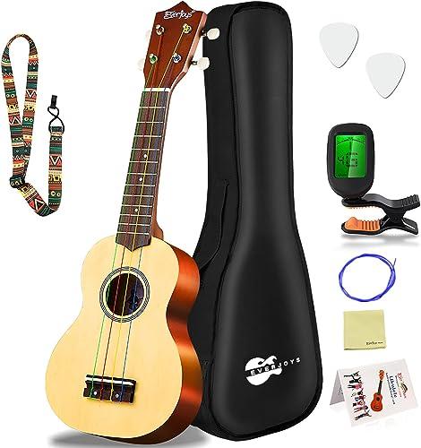 Everjoys Soprano Ukulele Beginner Pack-21 Inch w/Rainbow String Free Online Lesson Gig Bag Fast Learn Songbook Digita...