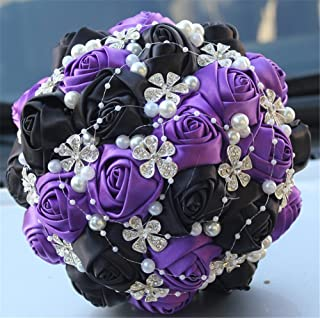 FYSTORE Advanced Customization Romantic Bride Wedding Holding Bouquet Roses with Diamond Pearl Ribbon Valentine's Day Bouquet Confession Many Colors for Choose 18cm (Purple+Black)