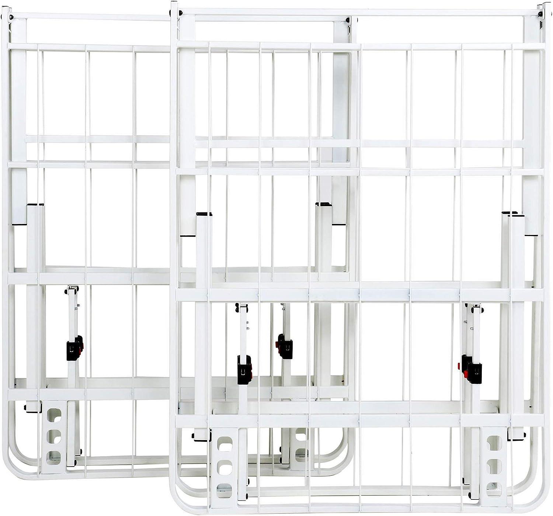 IntelliBASE Lightweight Easy Set Up Bi Fold Platform White Metal Bed Frame King