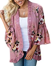 Yonala Women's Boho Lace Patchwork Floral Print Coat Tops Casual Kimono Cardigans