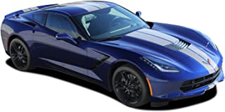 MoProAuto Pro Design Series C7 Rally : 2014-2019 Chevy Corvette Factory Style Racing Stripes Rally Hood Bumper to Bumper Vinyl Graphic 3M Decal Kit (FITS All Coupe Models) (Color-3M 56 Bright White)