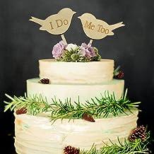 """Veewon - Adorno para tartas de boda, diseño de pájaros de madera con texto """"I DO ME TOO"""""""
