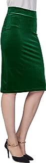 Women's Elastic Waist Stretch Velvet Bodycon Pencil Skirt