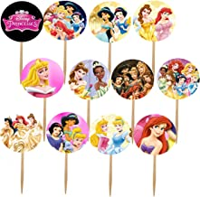 DJz Dealz Princesses Cupcake Picks, 12- Double-Sided Images Cake Topper with Various Princess Such as Cinderella, Ariel, S...