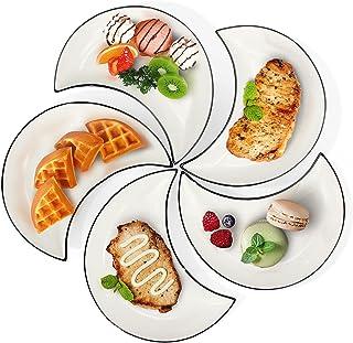 5 Pièces Assiettes Porcelaine Service de Table, Assiette à Déssert en Céramique, Assiette Plate Japonaise, Pour la Sushi, ...