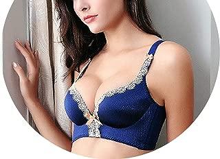 Seamless Palace Ting Lasi Gather No Rims Underwear Lace Lingerie Adjustable Push Up Bra,Blue,B,32