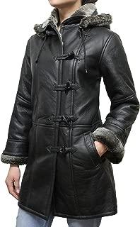 Brandslock Women's Genuine Sheepskin Leather Duffel Coat