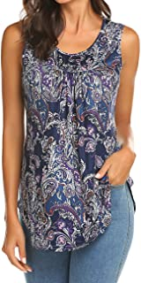 Women's Paisley Printed Pleated Sleeveless Blouse Shirt Casual Flare Tunic Tank Top
