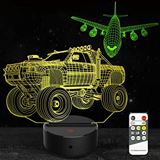 Car Night Light 3D Lamp Airplane Toys Gifts for Kids Boys Girls 7 Colors Changing Touch & Remote Control Night Lights Birthday Christmas Gifts for Age 1 2 3 4 5 6 7+ Year Old Kids Boys