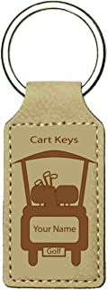 Engraved Personalized Leatherette Golf Cart Key Chain with Your Name
