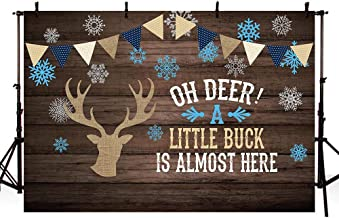 MEHOFOTO 7x5ft Oh Deer Boy Baby Shower Photography Background Props Blue Rustic Wood Burlap Baby Shower Little Buck Winter Snowflakes Backdrops Party Decoration Photo Booth Banner Supplies