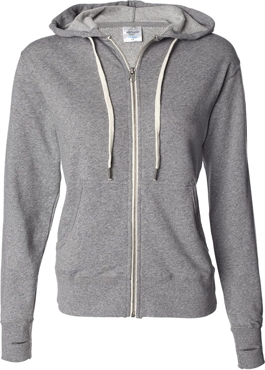 Independent Trading Co Mens French Terry Full Zip Hooded Sweatshirt. PRM90HTZ Medium Salt and Pepper