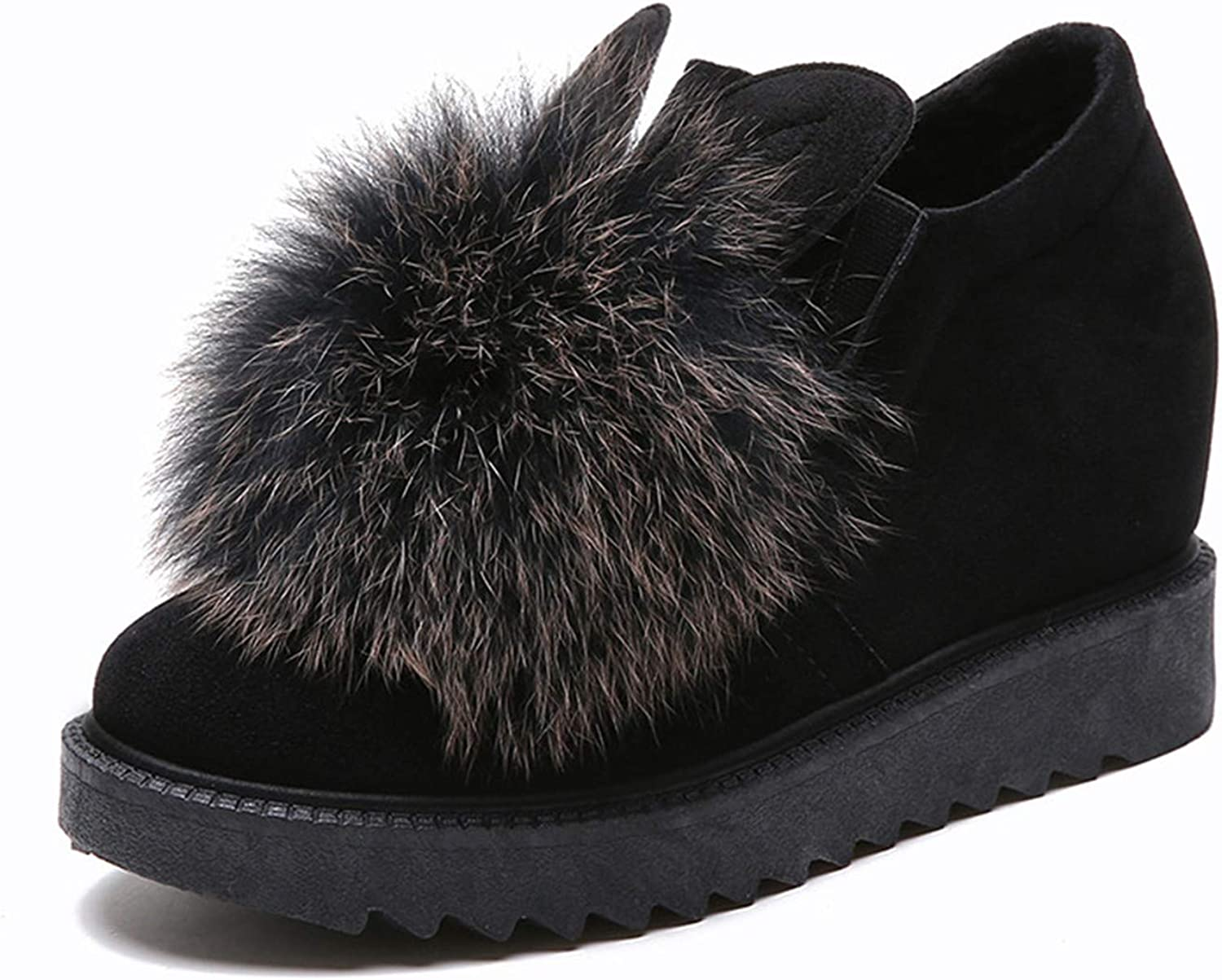Kongsta New Women Snow Boots Warm Fur Winter Boots Slip On Lazy shoes Comfort Women Ankle Boots Wedge Heels shoes Woman