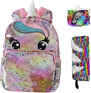 Reversible Sequin Unicorn Backpack, Glitter Sparkly Schoolbag, School Bookbag for Preschool Kindergarten Elementary (Pink)