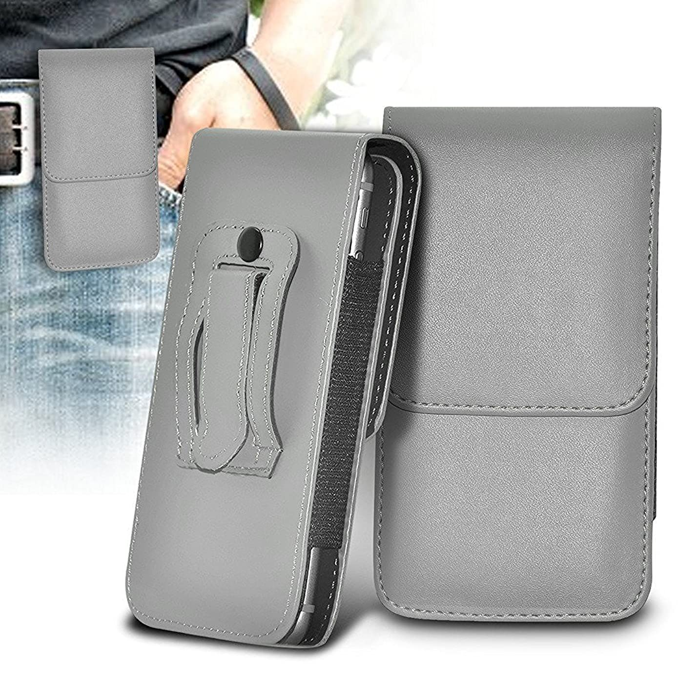 ONX3 (Grey) Sony Xperia XA (2017) Case Premium Vertical Faux Leather Belt Holster Pouch Cover