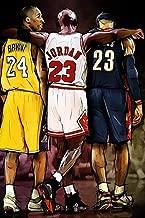 chronical collection Kobe Bryant Michael Jordan Lebron James NBA Basketball Poster 12 x 12 Inch