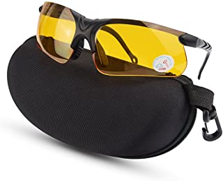 XAegis Shooting Glasses with Case, Polycarbonate Lens and Rubber Nose Padding Anti Fog..