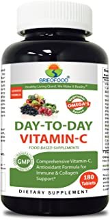 Brieofood Vitamin C 1000 mg 180 Tablets, Food Based daily Vitamin C supplement made with Vegetable Source Omegas, probiotics and herbal blends