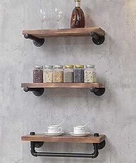 BIXIRAO Industrial Retro Wall Mounted Iron Water Pipe Shelf/Bookcase/Shelving – Floating Shelves - Hung Bracket - DIY Storage Bookshelf – 3 Tiers Wood Shelf - Towel Bar Hanging Storage Racks